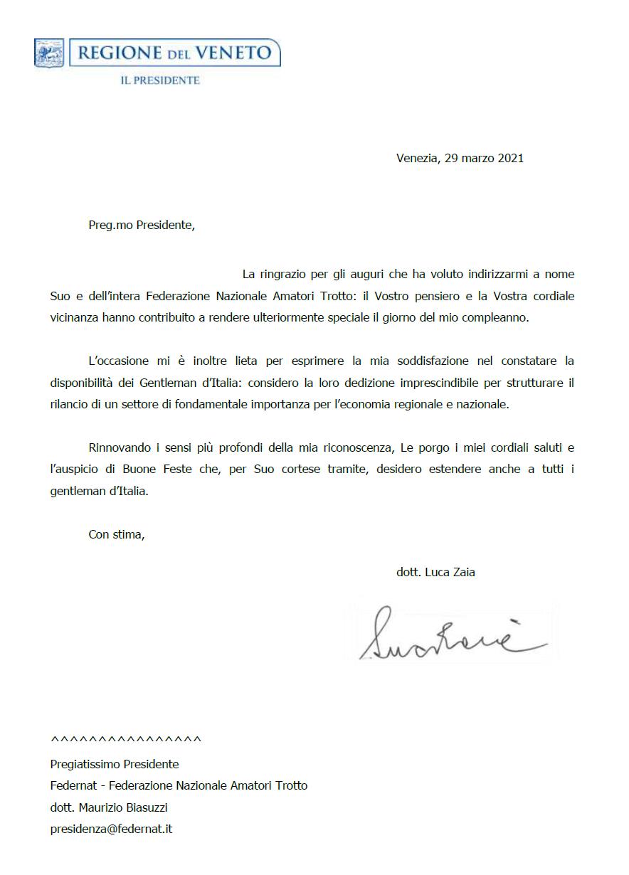 Lettera Governatore Luca Zaia